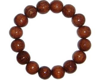 Hawaiian Jewelry Handmade Hawaiian Koa Wood 12mm Large Bead Elastic Bracelet from Maui, Hawaii