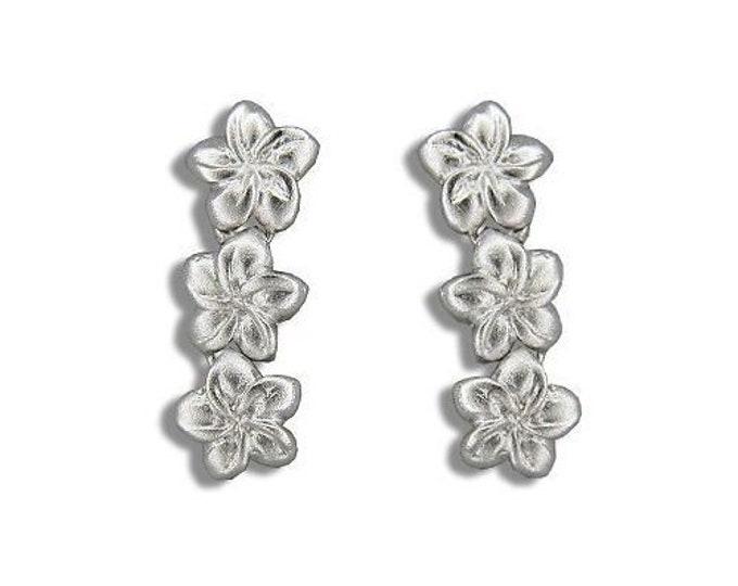 Hawaiian Jewelry 92.5 Solid Sterling Silver 3 Dangle Plumeria Flower Earrings from Maui, Hawaii