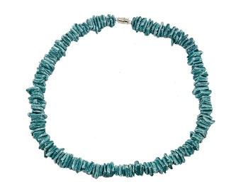"Hawaiian Jewelry Handmade 16"" Ocean Blue Chip Shell Choker Necklace from Maui, Hawaii"