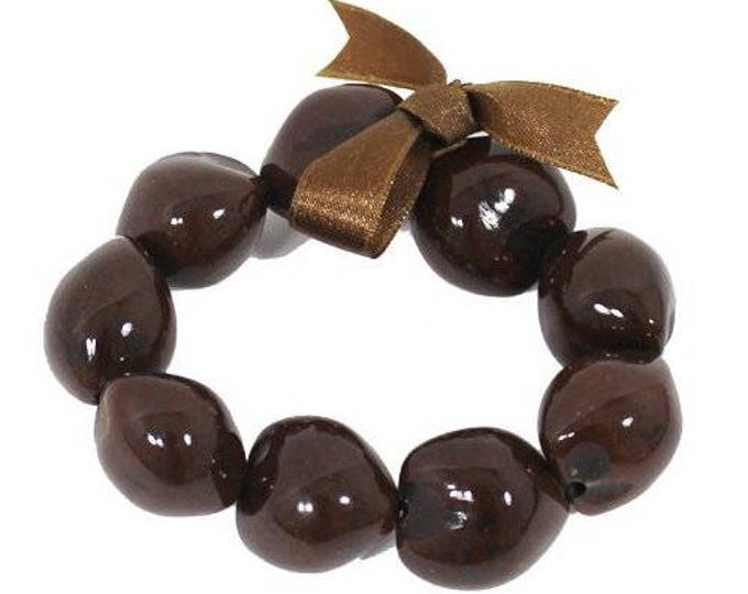 Hawaiian Jewelry Handmade Hawaiian BROWN Kukui Nut Elastic Bracelet from Maui, Hawaii