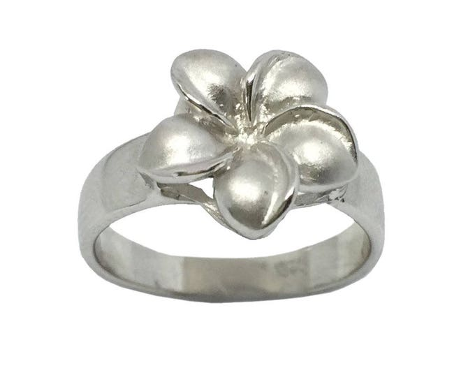 Hawaiian Heirloom Jewelry Single Plumeria Flower Ring Sterling Silver Jewelry from Maui, Hawaii