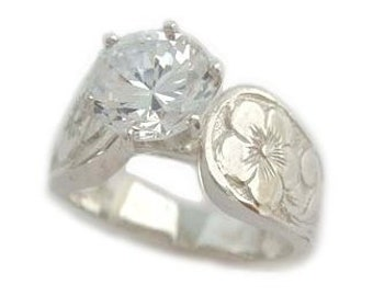 Hawaiian Heirloom Jewelry 1.5 ct Cubic Zirconia Plumeria Flower Sterling Silver French Mount Ring from Maui, Hawaii