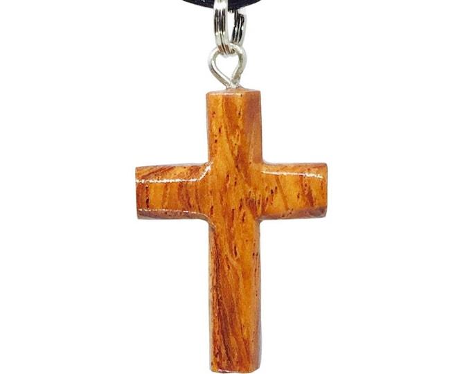 Hawaiian Jewelry Handmade Small Koa Wood Cross Pendant Necklace From Maui Hawaii