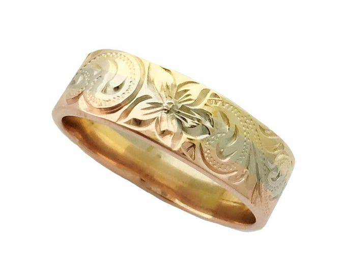 Hawaiian Heirloom Jewelry 14 Karat Gold 6mm Tri-Color Ring from Maui, Hawaii