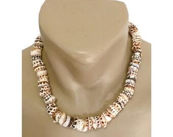 RARE-Hawaiian Jewelry Handmade XXL Tiger Puka Shells Choker Necklace with Koa Wood Bead Accents from Maui, Hawaii
