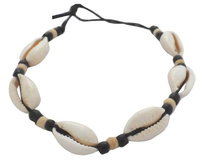 Hawaiian Natural Cowrie Shell Bead Handmade Bracelet with Black Cord from Maui, Hawaii
