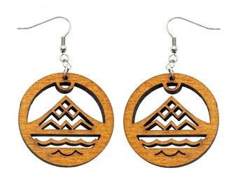 Hawaiian Jewelry Protect Mauna Kea Ku Kia'i Mauna Dangling Wood Earrings From Maui Hawaii