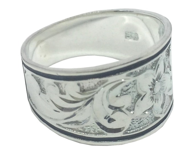 Hawaiian Heirloom Jewelry 12mm Tapered Hawaiian Plumeria Flower Silver Ring from Maui, Hawaii