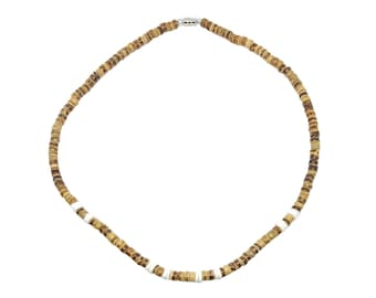 Hawaiian Jewelry Smooth Hawaii Puka Shell and Tan Coconut Bead Necklace from Maui, Hawaii