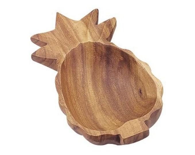 Hawaiian Handmade Acacia Wood 10 Inch Pineapple Bowl from Maui, Hawaii