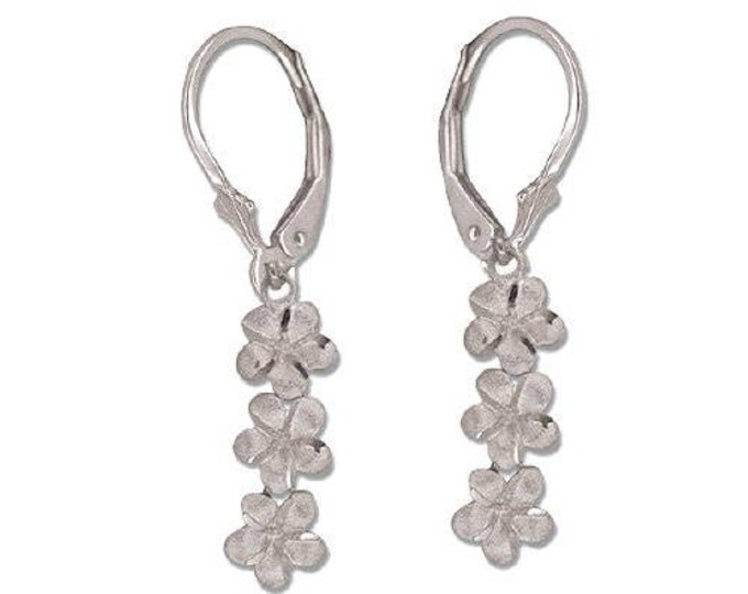 Hawaiian Heirloom Jewelry 14 Karat White Gold 3 Dangling Plumeria Flower Lever Back Earrings from Maui, Hawaii