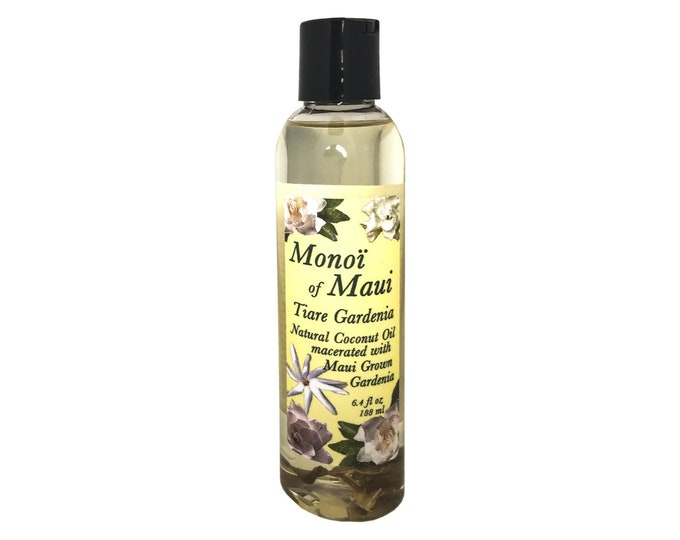Monoi of Maui Tiare Gardenia Natural Coconut Oil for Skin, Hair,Tanning, & Massage from Maui, Hawaii