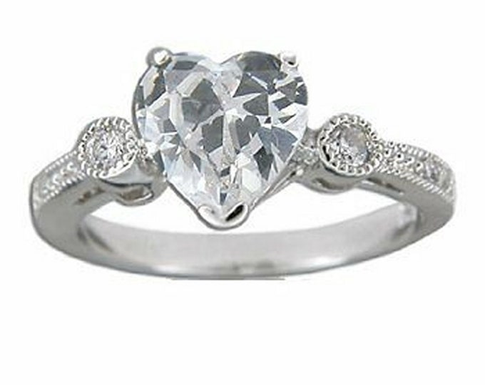 Hawaiian Heirloom Jewelry 1.5 CT Heart CZ Ring Sterling Silver Jewelry from Maui, Hawaii