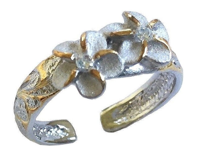 Hawaiian Jewelry Sterling Silver with 14k Yellow Gold Finish CZ Two Plumeria Flowers Toe Ring from Maui, Hawaii