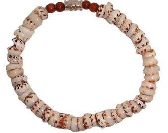 Hawaiian Jewelry Handmade Tiger Puka Shell Bracelet with Koa Wood Bead Accents from Maui, Hawaii