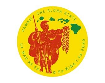 Aloha State King Kamehameha Hawaiian Islands Sticker Decal from Maui, Hawaii