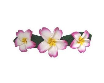 Hawaiian Pink Three Plumeria Flower Poly Clay Hair Barrette from Hawaii from Maui, Hawaii