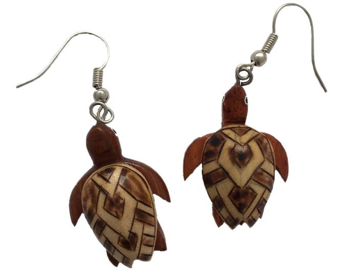 Hawaiian Jewelry Handmade Hand Carved Hawaiian Honu Sea Turtle Wood Hawaii Earrings From Maui Hawaii