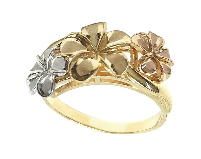 Hawaiian Heirloom Jewelry White, Pink, and Yellow 14k Gold Plumeria Flower Ring from Maui, Hawaii