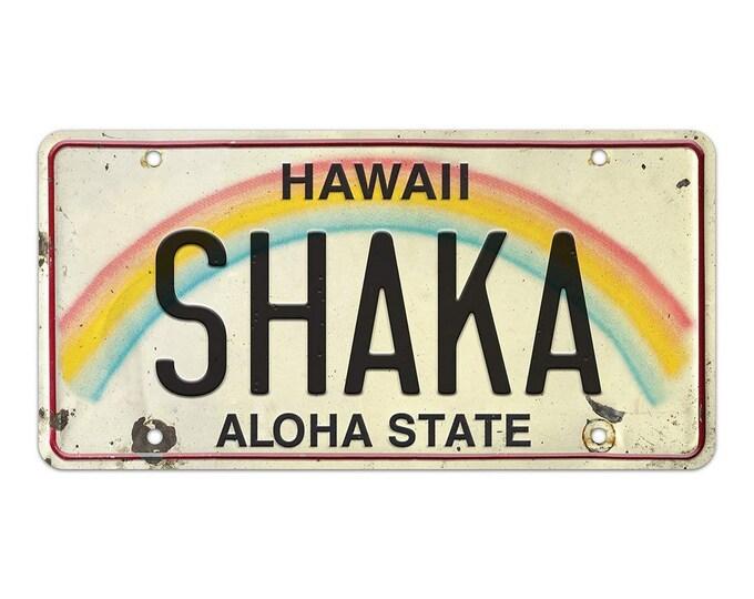 6in x 12in Vintage Hawaiian Embossed License Plate - Shaka