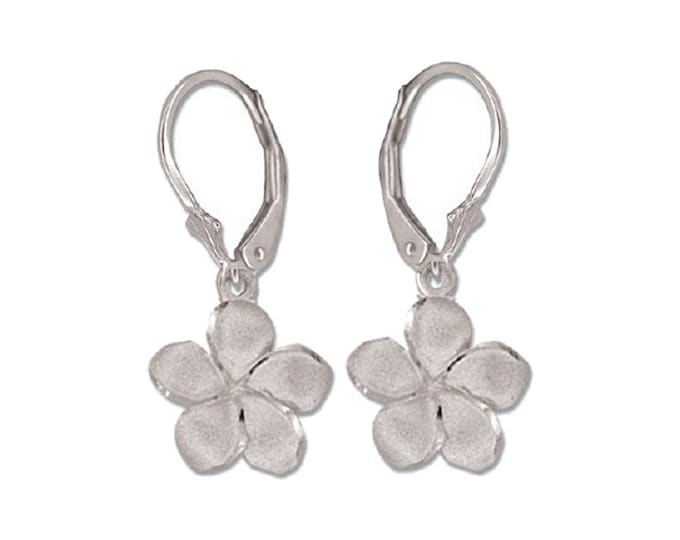 Hawaiian Heirloom Jewelry 14 Karat White Gold 12mm Plumeria Flower Lever Back Earrings from Maui, Hawaii