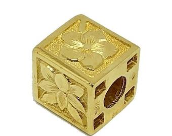 Hawaiian Jewelry 14K Gold 8mm Hawaiian Flower Cube Pendant from Maui, Hawaii