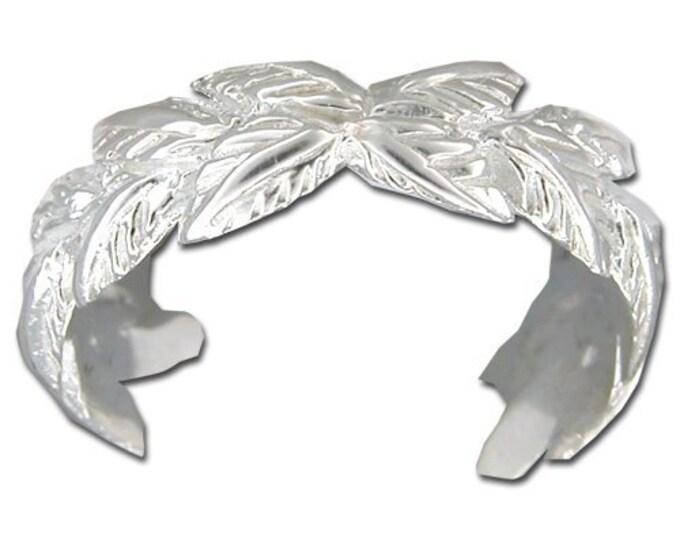 Hawaiian Jewelry Sterling Silver Hawaiian Maile Leaf Toe Ring from Maui, Hawaii