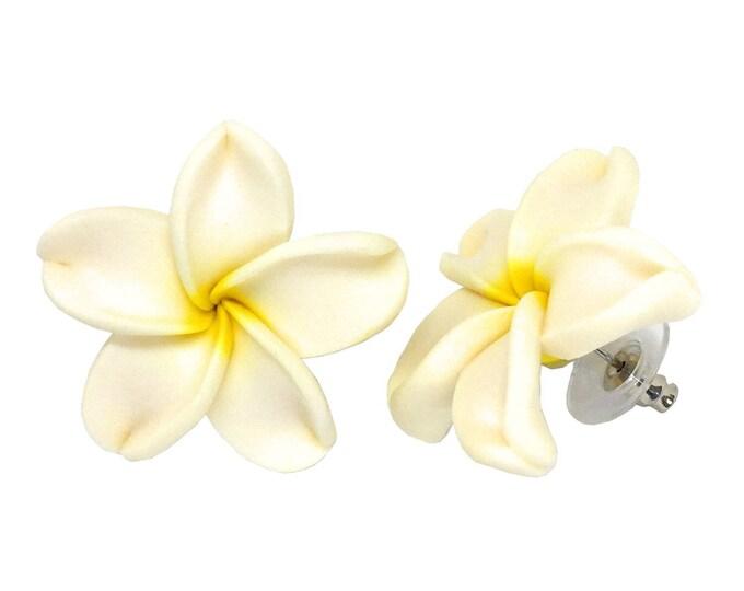 Hawaiian Jewelry Handmade Poly Clay Fimo White Plumeria Flower Stud Pierce Earrings From Maui Hawaii