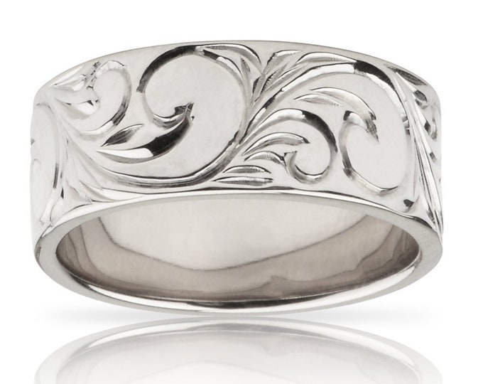 Hawaiian Heirloom Jewelry 14k White Gold Flat Hawaiian Scroll Ring from Maui, Hawaii