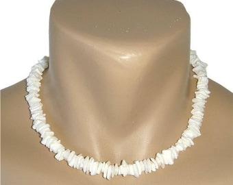 Hawaiian Jewelry Handmade White Chip Shell Choker Necklace from Maui, Hawaii