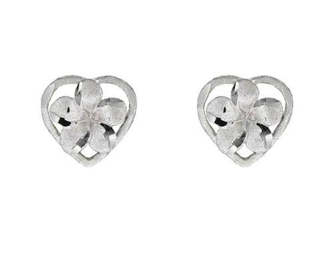 Hawaiian Heirloom Jewelry 14 Karat White Gold Plumeria Flower Heart Earrings from Maui, Hawaii