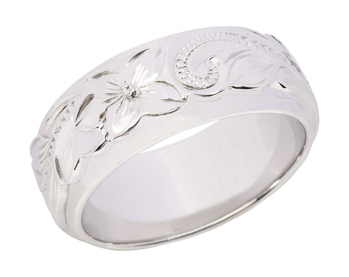 Hawaiian Jewelry Sterling Silver Flower Double Band  from Maui, Hawaii