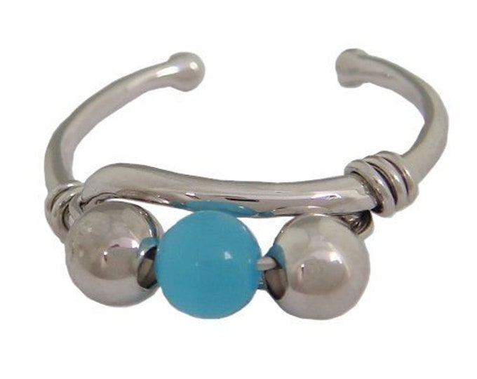 Hawaiian Jewelry Solid Sterling Silver Blue Ocean Ball Toe Ring from Maui, Hawaii