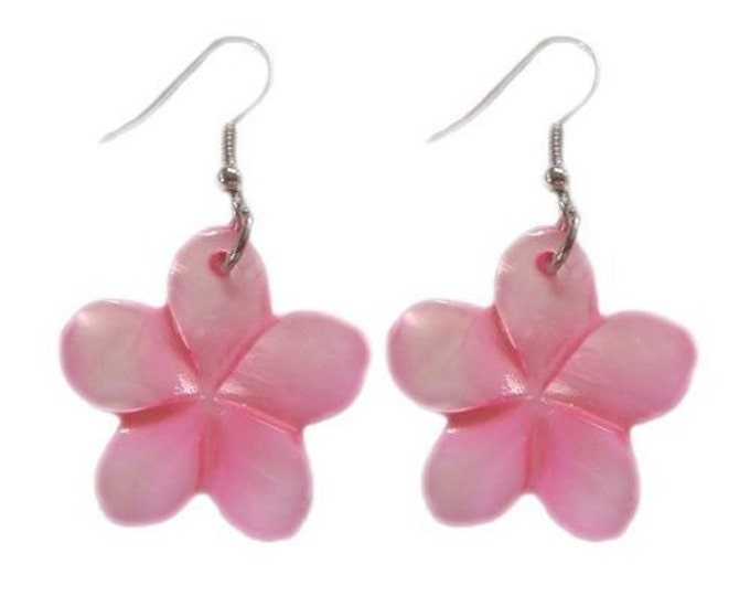 Hawaiian Jewelry Handmade Hand Carved Pink Plumeria Flower Shell Hawaii Earrings From Maui Hawaii