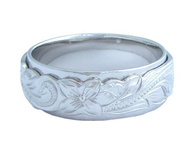 Hawaiian Heirloom Jewelry Double Band Plumeria Flower and Scroll Silver Ringfrom Maui, Hawaii