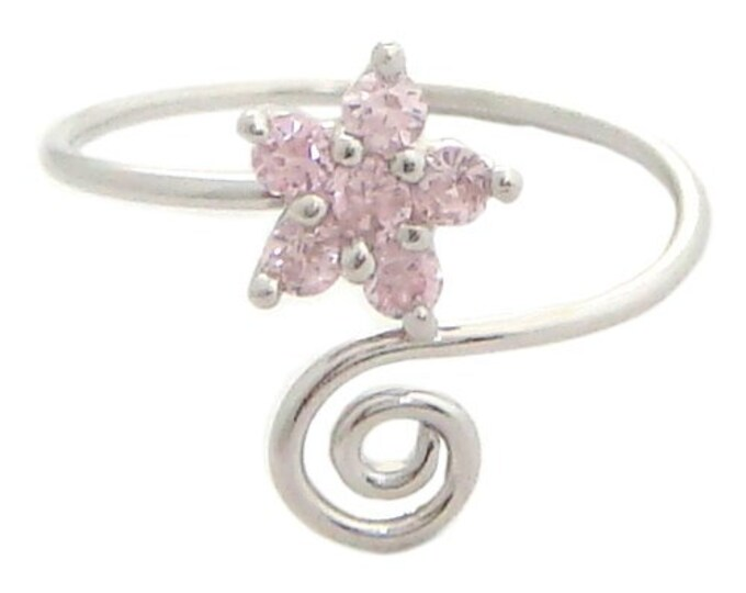 Hawaiian Jewelry Sterling Silver Pink CZ Plumeria Flower Hawaii Toe Ring from Maui, Hawaii