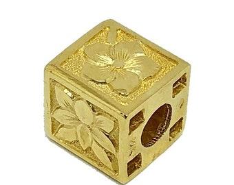 Hawaiian Jewelry 14K Gold 11mm Hawaiian Flower Cube Pendant from Maui, Hawaii
