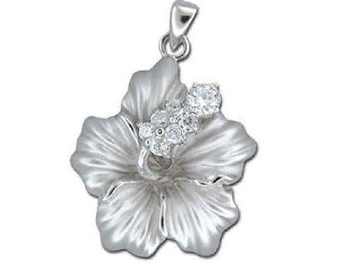 Hawaiian Jewelry Sterling Silver Hibiscus Flower CZ Pendant from Maui, Hawaii