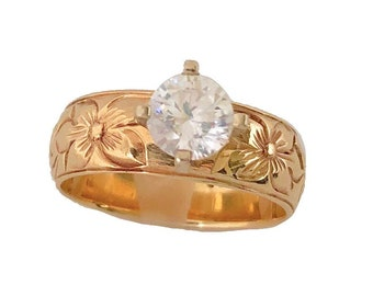 Hawaiian Heirloom Jewelry 8mm 14k Yellow Gold 1ct Cubic Zirconia Wedding Engagement Ring