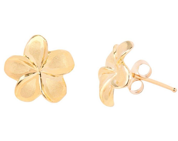 Hawaiian Heirloom Jewelry 14 K Gold Hawaiian Jewelry Plumeria Flower Stud Earrings from Maui, Hawaii
