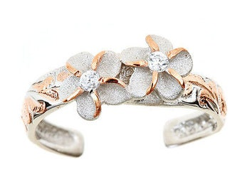 Hawaiian Jewelry Sterling Silver with 14k PINK Gold Finish CZ Two Plumeria Flowers Toe Ring from Maui, Hawaii