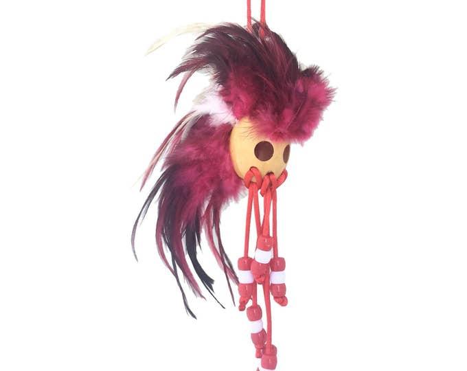 Hawaiian Red and White Handmade Ikaika Warrior Helmet From from Maui, Hawaii