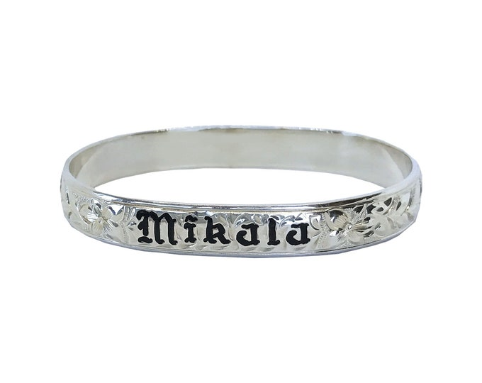 Hawaiian Heirloom Jewelry Sterling Silver Custom Bangle Bracelet with YOUR Name from Maui, Hawaii