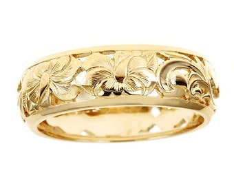 Hawaiian Heirloom Jewelry 14k Yellow Gold 6mm Cut Out Hibiscus Dome Ring from Maui, Hawaii