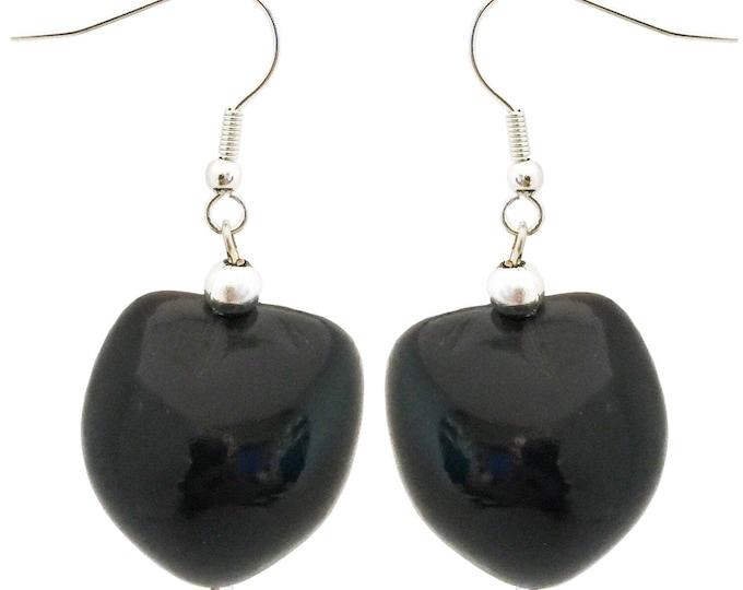 Hawaiian Jewelry Handmade Black Kukui Nut Hook Dangling Earrings From Maui Hawaii