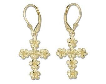 Hawaiian Jewelry Plumeria Flower Cross 14K Gold Hawaii Lever Back Earrings From Maui Hawaii