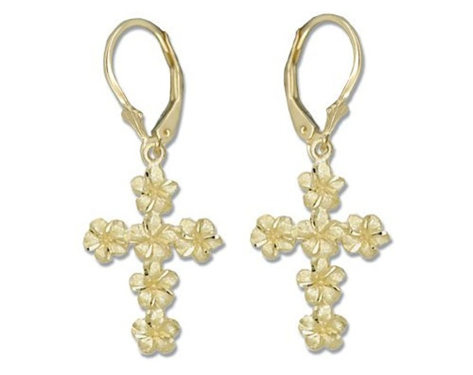 Hawaiian Jewelry Plumeria Flower Cross 14K Gold Hawaii Lever Back Earrings From Maui Hawaii