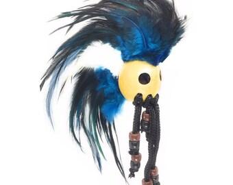Hawaiian Blue, Black, and White Handmade Ikaika Warrior Helmet From from Maui, Hawaii