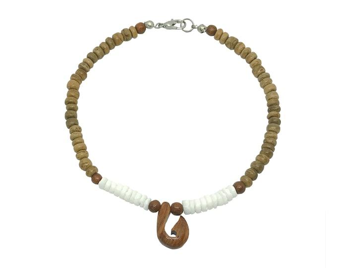 Hawaiian Jewelry Handmade Koa Wood Fish Hook with Puka Shells and Brown Coconut Bead Anklet From Maui Hawaii