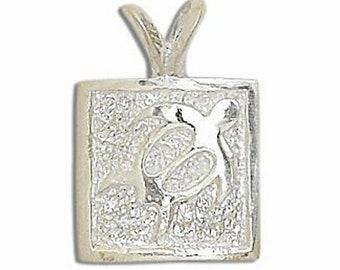 Hawaiian Jewelry Honu Petroglyph Sea Turtle Solid 92.5 Sterling Silver Pendant from Maui, Hawaii